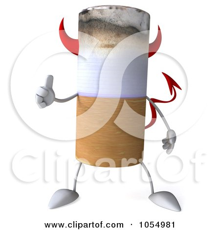Royalty-Free CGI Clip Art Illustration of a 3d Devil Cigarette Holding A Thumb Up - 2 by Julos