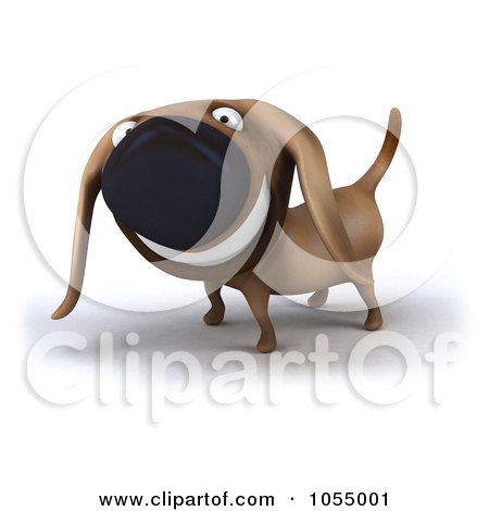 Royalty-Free CGI Clip Art Illustration of a 3d Happy Wiener Dog - 2 by Julos