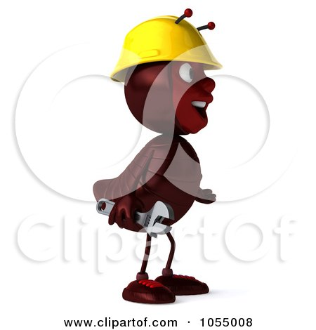 Royalty-Free CGI Clipart Illustration of a 3d Worker Ant Holding A Wrench And Facing Right by Julos