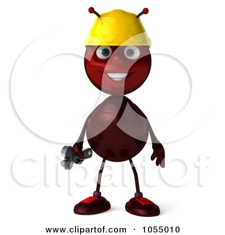 Royalty-Free CGI Clipart Illustration of a 3d Worker Ant Holding A Wrench by Julos