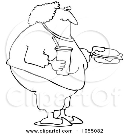 Royalty-Free Vetor Clip Art Illustration of a Coloring Page Outline Of A Fat Woman Eating Fast Food by djart