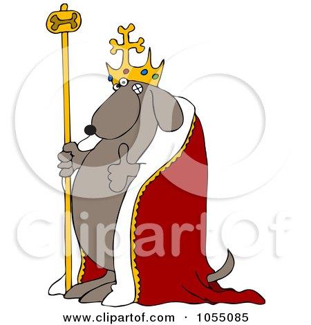 Royalty-Free Vetor Clip Art Illustration of a Dog King Holding A Thumb Up by djart