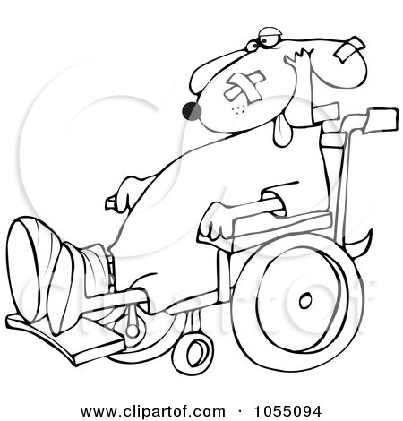 Royalty-Free Vetor Clip Art Illustration of a Coloring Page Outline Of A Dog In A Wheelchair by djart