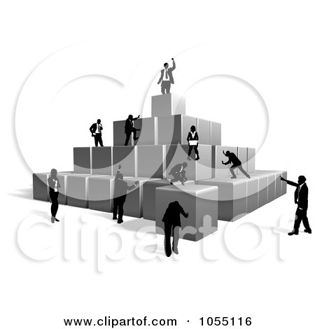 Royalty-Free Vector Clip Art Illustration of Business People Building A Pyramid With Blocks by AtStockIllustration