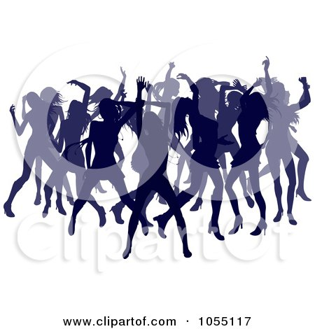 Royalty-Free Vector Clip Art Illustration of a Crowd Of Silhouetted Purple Female Dancers by AtStockIllustration
