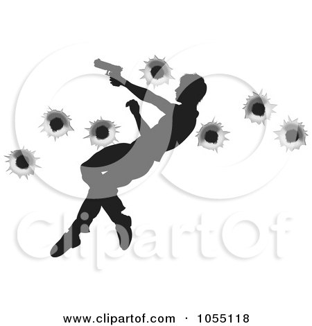 Royalty-Free Vector Clip Art Illustration of a Silhouetted Action Hero Leaping Through The Air And Shooting by AtStockIllustration