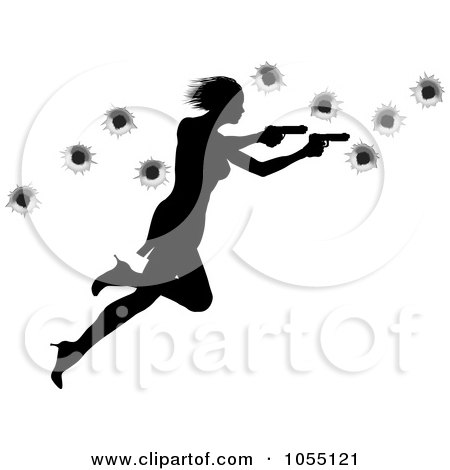 Royalty-Free Vector Clip Art Illustration of a Femme Fatale Shooting With Two Guns Over Bullet Holes by AtStockIllustration