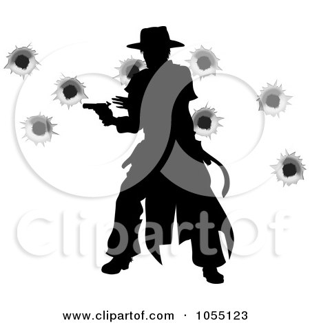 Royalty-Free Vector Clip Art Illustration of a Wild West Gunslinger Firing His Gun, With Bullet Holes by AtStockIllustration