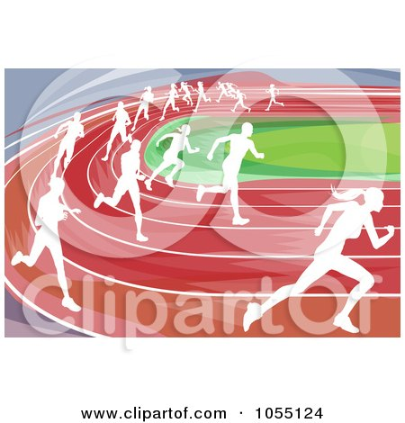 White Silhouetted Runners Racing On A Track Posters, Art Prints