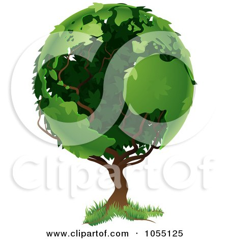 Tree With Foliage In The Shape Of Earth's Continents Posters, Art Prints