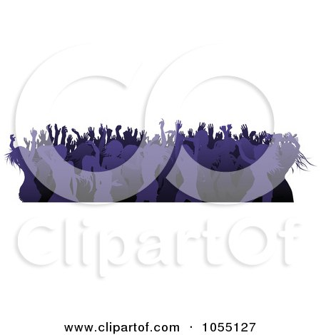 Royalty-Free Vector Clip Art Illustration of a Border Of A Crowd Of Silhouetted Purple Female Dancers by AtStockIllustration