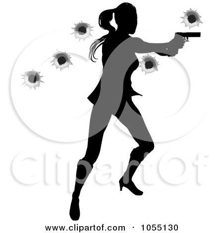Royalty-Free Vector Clip Art Illustration of a Female Action Hero Shooting, With Bullet Holes by AtStockIllustration