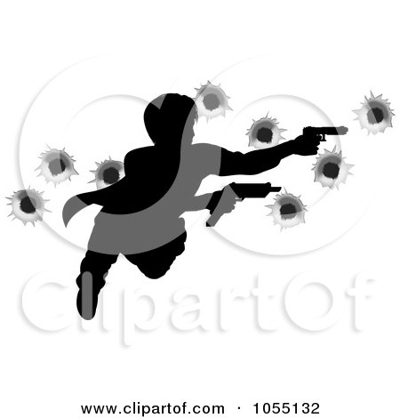 Royalty-Free Vector Clip Art Illustration of an Action Hero Leaping Through The Air And Shooting, With Bullet Holes by AtStockIllustration