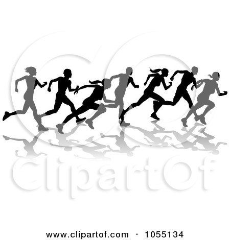 Royalty-Free Vector Clip Art Illustration of a Black Silhouetted Runners by AtStockIllustration
