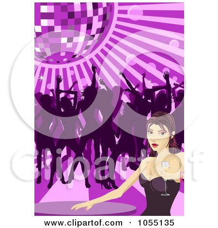 Royalty-Free Vector Clip Art Illustration of a Sexy Woman Holding Champagne At A Table While Others Dance Under A Disco Ball by AtStockIllustration