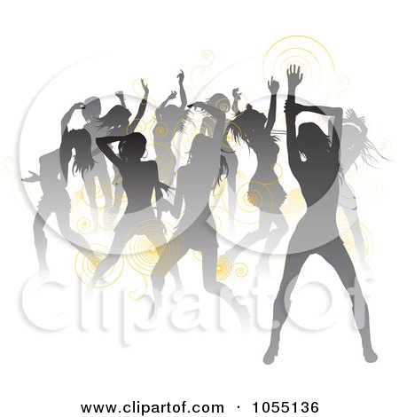 Royalty-Free Vector Clip Art Illustration of a Crowd Of Silhouetted Sexy Women Dancing, With Yellow Spirals by AtStockIllustration