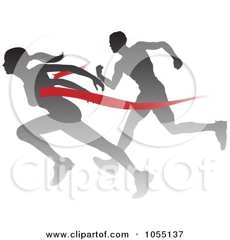 Royalty-Free Vector Clip Art Illustration of a Silhouetted Female Runner Beating A Man To The Finish Line by AtStockIllustration