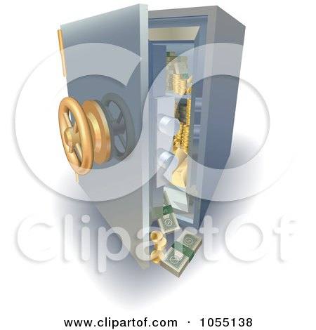 Royalty-Free Vector Clip Art Illustration of a 3d Safe With Money And Gold Falling Out by AtStockIllustration