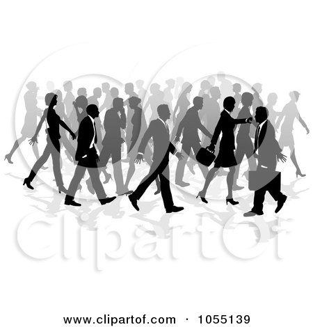 Royalty-Free Vector Clip Art Illustration of a Crowd Of Silhouetted Business People Walking by AtStockIllustration