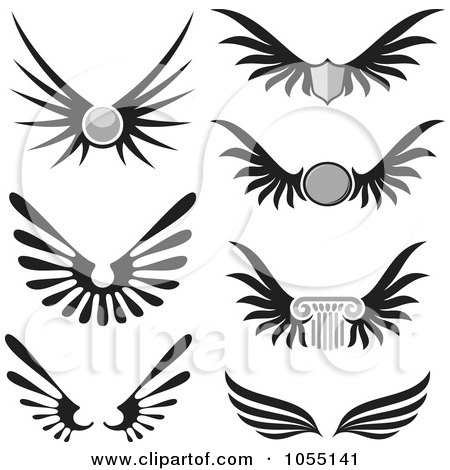 Royalty-Free Vector Clip Art Illustration of a Digital Collage Of Black And White Wings by Any Vector