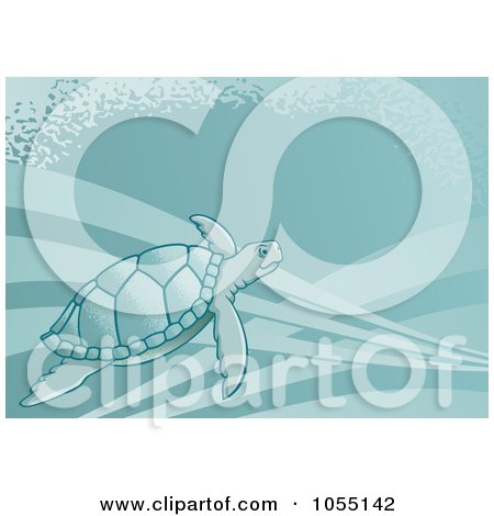 Royalty-Free Vector Clip Art Illustration of a Sea Turtle Swimming by Any Vector
