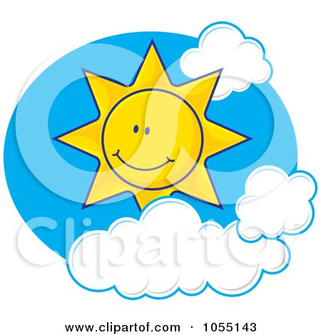 Royalty-Free Vector Clip Art Illustration of a Happy Sun In A Cloudy Sky by Any Vector