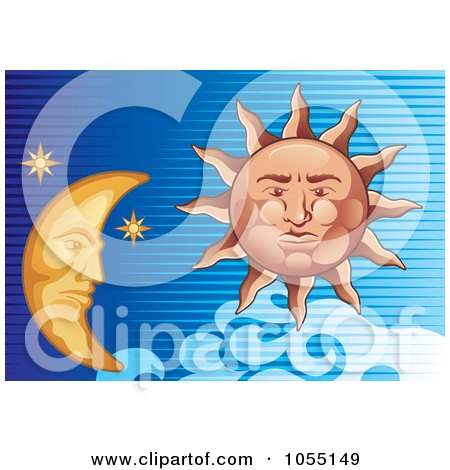 Royalty-Free Vector Clip Art Illustration of a Sun And Moon In A Lined Blue Sky by Any Vector