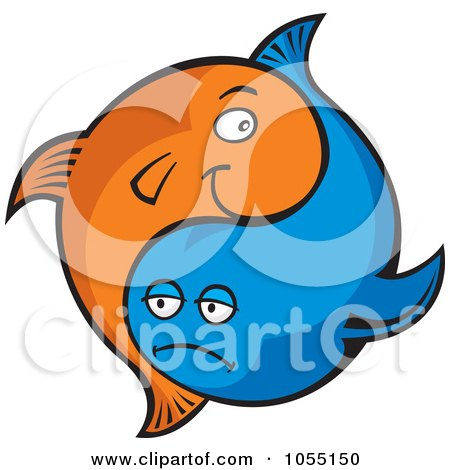 Royalty-Free Vector Clip Art Illustration of Blue And Orange Yin Yang Fish by Any Vector