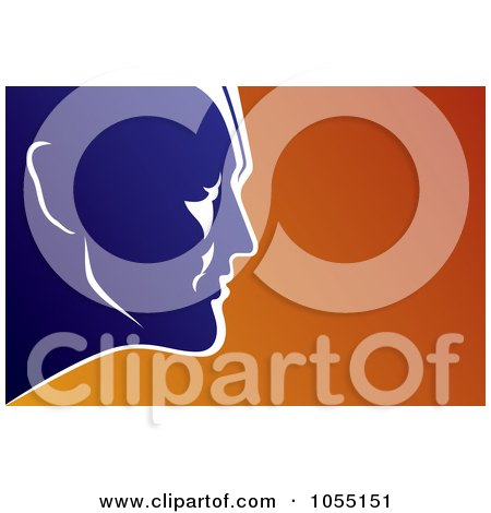 Royalty-Free Vector Clip Art Illustration of a Blue Male Super Hero's Face Over Orange by Any Vector