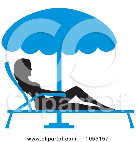 Royalty-Free Vector Clip Art Illustration of a Silhouetted Woman Sun Bathing In A Lounge Chair by Any Vector