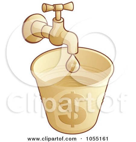 Royalty-Free Vector Clip Art Illustration of a Faucet Dripping Into A Money Bucket by Any Vector