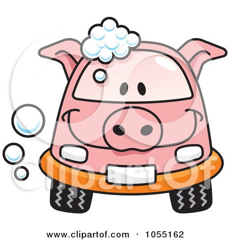 Royalty-Free Vector Clip Art Illustration of a Happy Pig Car With Soap Bubbles by Any Vector