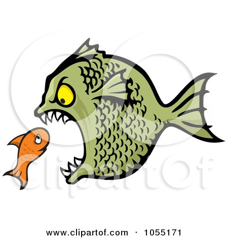 Royalty-Free Vector Clip Art Illustration of a Bully Fish Eating A Small Fish by Any Vector