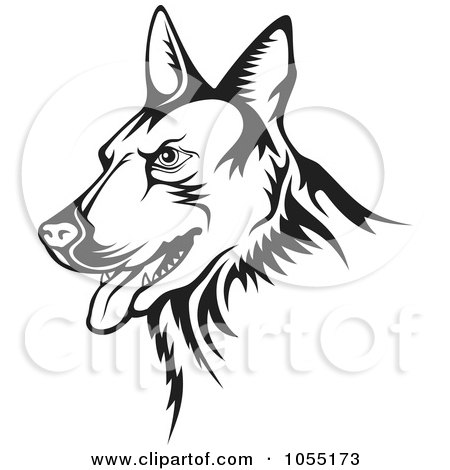 Royalty-Free Vector Clip Art Illustration of a Black And White Guard Dog by Any Vector
