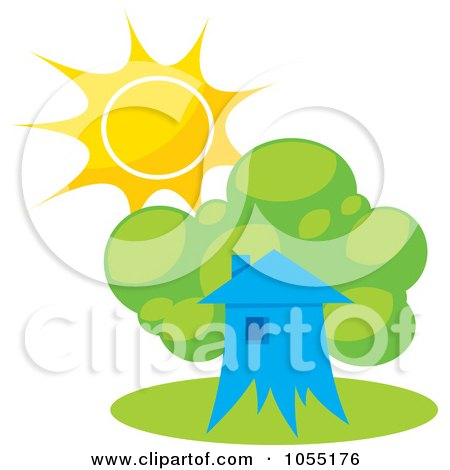 Royalty-Free Vector Clip Art Illustration of a Tree House And Summer Sun by Any Vector