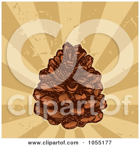 Royalty-Free Vector Clip Art Illustration of a Pine Cone Over Grungy Rays by Any Vector