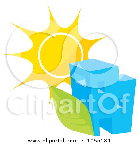 Royalty-Free Vector Clip Art Illustration of a Building With A Green Leaf And Sun by Any Vector