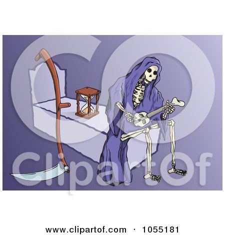Royalty-Free Vector Clip Art Illustration of a Grim Reaper Playing A Bone Guitar And Sitting On A Bed by Any Vector