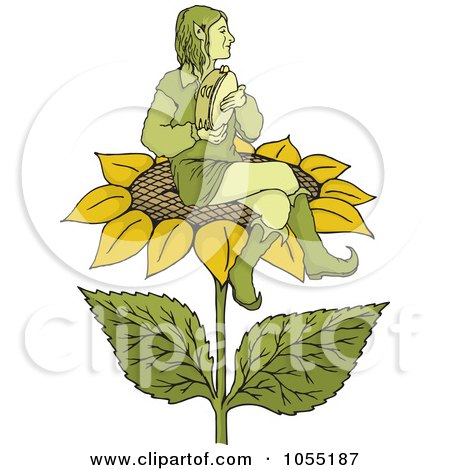 Royalty-Free Vector Clip Art Illustration of an Elf Playing A Tambourine On A Sunflower by Any Vector