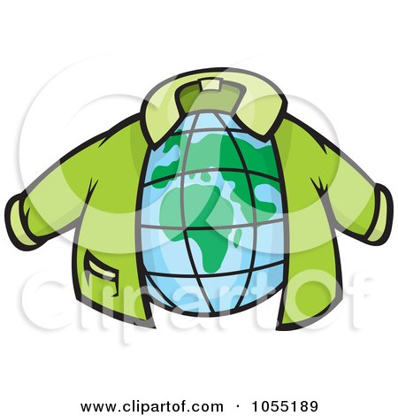 Royalty-Free Vector Clip Art Illustration of a Green Jacket Around A Globe by Any Vector