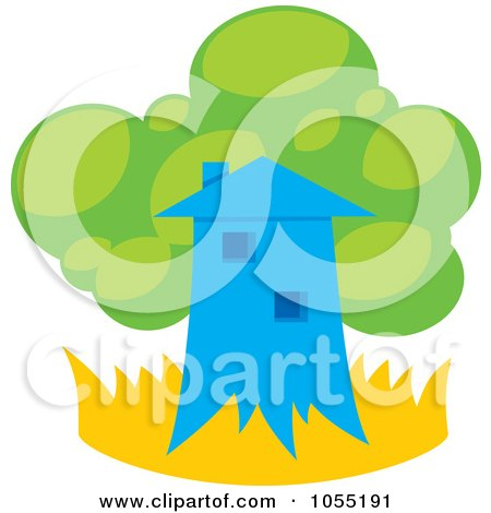 Royalty-Free Vector Clip Art Illustration of a Tree House And Lush Foliage by Any Vector