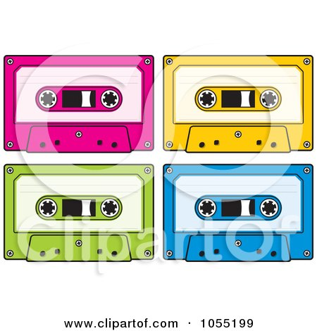 Royalty-Free Vector Clip Art Illustration of a Digital Collage Of Audio Cassette Tapes by Any Vector