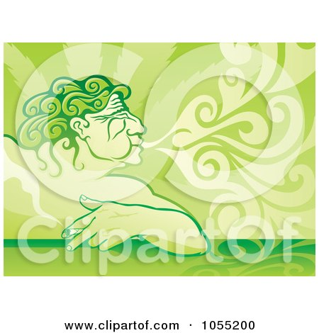 Royalty-Free Vector Clip Art Illustration of Aeolus Displayed As A Pot Smoker, Exhaling by Any Vector