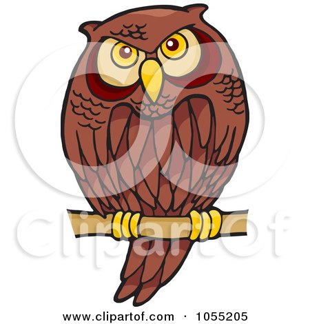 Royalty-Free Vector Clip Art Illustration of a Cartoon Owl Perched by Any Vector