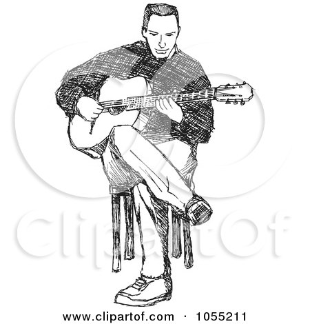 Royalty-Free Vector Clip Art Illustration of a Black And White Sketched Guitarist by Any Vector