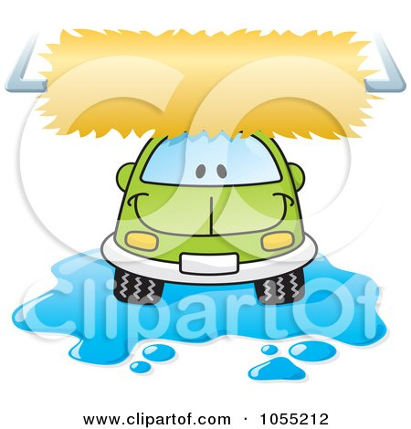 Royalty-Free Vector Clip Art Illustration of a Happy Car In A Car Wash by Any Vector