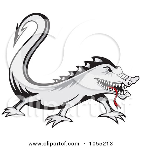 Royalty-Free Vector Clip Art Illustration of a Gray Lizard With A Red Tongue by Any Vector