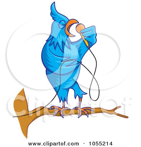 Royalty-Free Vector Clip Art Illustration of a Singing Blue Bird by Any Vector