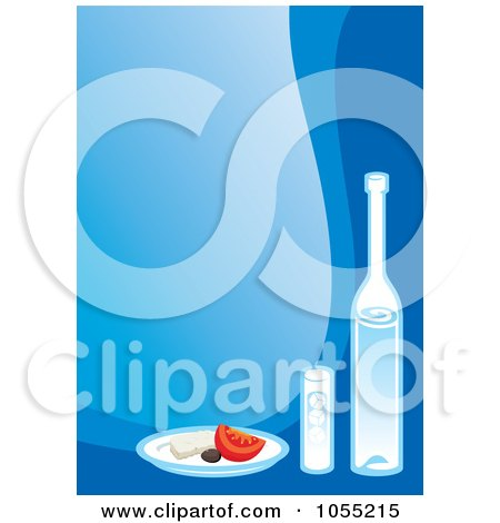 Royalty-Free Vector Clip Art Illustration of Greek Food And Wine On Blue by Any Vector