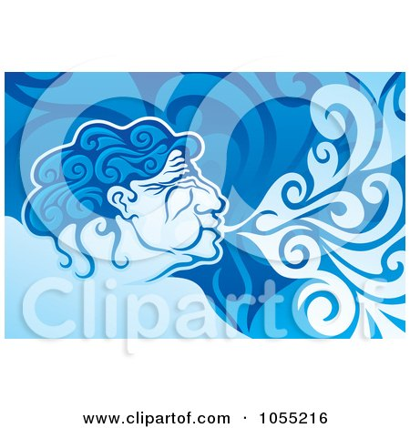 Royalty-Free Vector Clip Art Illustration of a Aeolus Blowing Wind by Any Vector